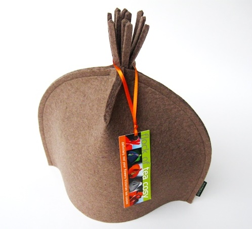 SALE modern tea cosy in camel wool felt w tassel