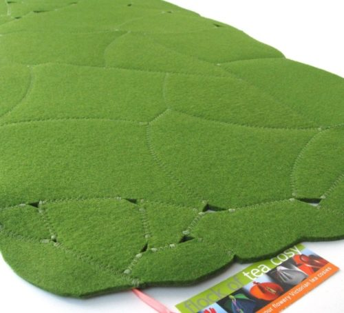 Moss Green wool felt upcycled eco concious design for a table topper or hot pad