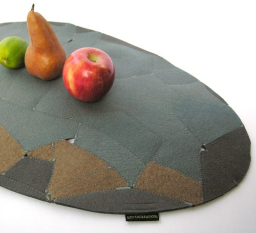 Eco design using upcycled wool felt scraps to make an elegant table topper