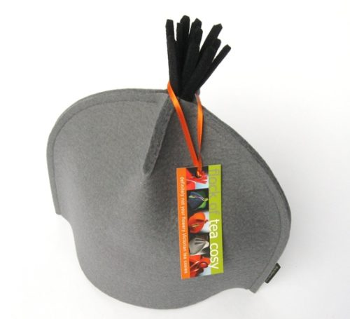 Small Tea Cosy in Cashmere Grey wool felt w Black Tassel top