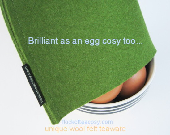 A modern wool felt tea cosy in Moss Green multi tasking as an egg cosy -- such a good idea!!Modern wool felt egg cozy in Moss Green