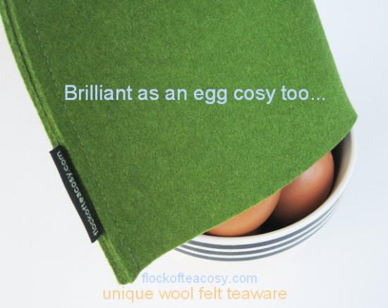 A modern wool felt tea cosy in Moss Green multi tasking as an egg cosy -- such a good idea!!Modern wool felt egg cozy in Moss Green