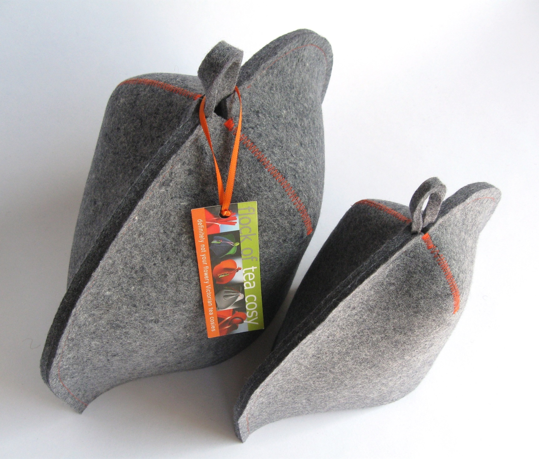 Standard and Small size modern tea cosies in cool grey industrial wool felt
