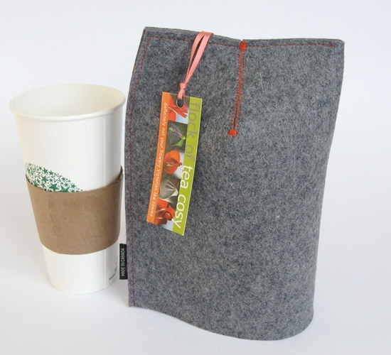 Modern Mug Cosy for 20oz paper cup in industrial wool felt