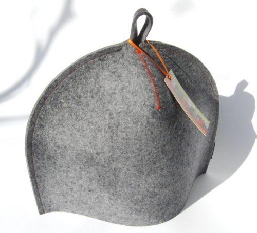 Modern tea cozy in blue-grey wool felt for a 4cup Standard size tea cozy in industrial wool pot