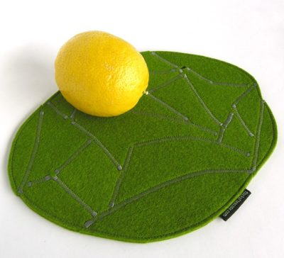 Moss green trivet in wool felt