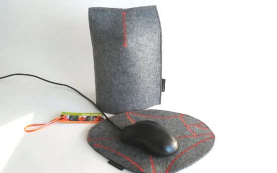 Modern masculine tea cosy and mug cosy and mousepad in industrial wool felt