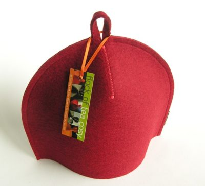 Small modern tea cosy in Mulberry Red wool felt