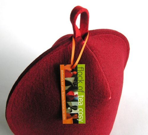Designer tea cosy in Mulberry Red wool felt for 4cup teapot