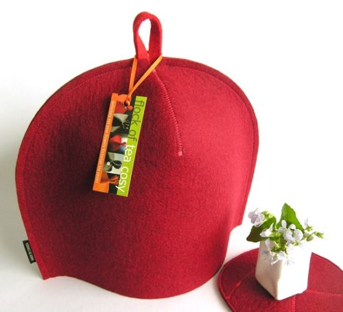 Modern tea cosy Mulberry Red thick wool felt