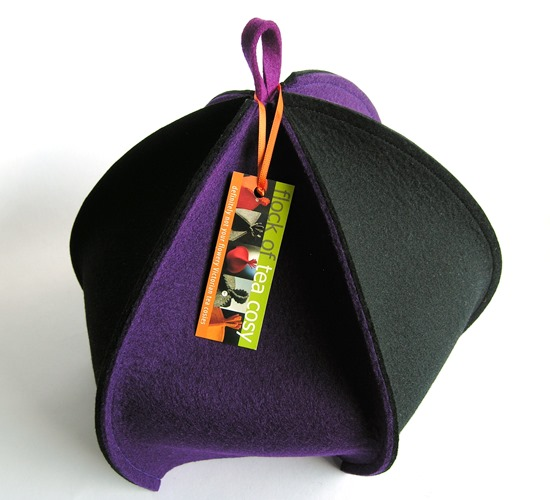 Architectural 6-sided tea cosy in wool felt Purple & Black