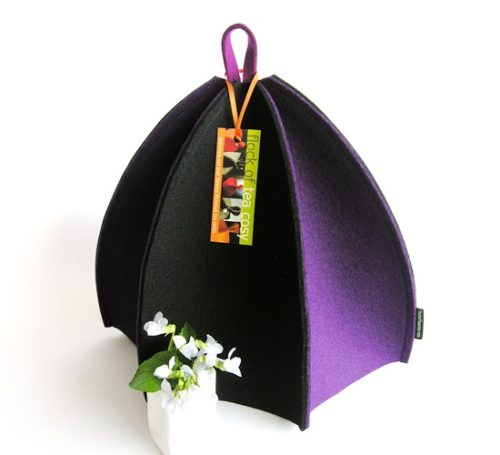 Modern multi panel tea cosy in Purple and Black wool felt