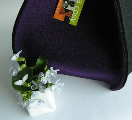 Modern designer tea cozy in Purple & Black wool felt
