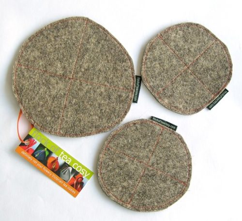 Trivet hotpad and coaster set in modern industrial wool felt