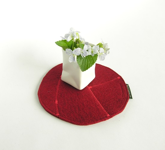 Teapot trivet or hotpad in Mulberry Red wool felt