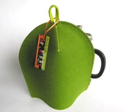Minimalist manly french press cozy in Moss Green wool felt