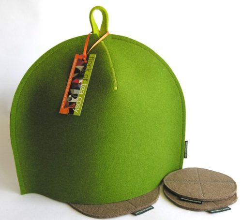 Moss Green tea cosy with trivet and coasters