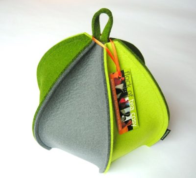 6 paneled wool felt tea cozy in green & grey