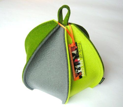 6 paneled wool felt tea cozy in green & grey