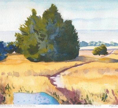 Original watercolour Beacon Hill Victoria BC