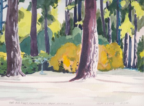 Original watercolour by WestofLunch Beacon Hill Park Pines