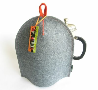 Modern coffee cosy in Industrial Blue wool felt