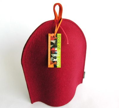 12cup coffee cosy in Mulberry Red wool felt