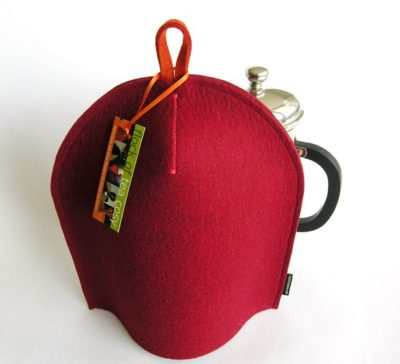 Minimalist coffee cozy in Mulberry Red wool felt