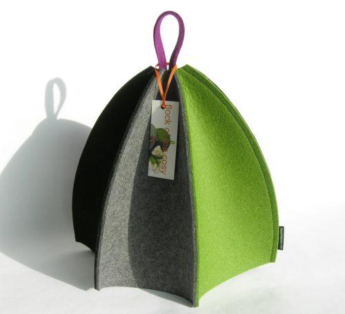 Modern wool felt tea cosy in green purple and black