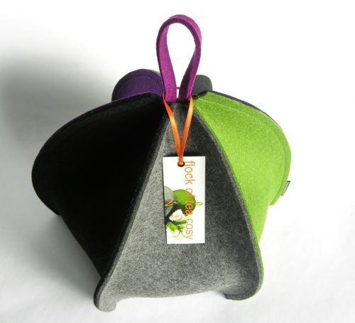 Modern expandable multi colored wool felt tea cosy by flock of tea cosy