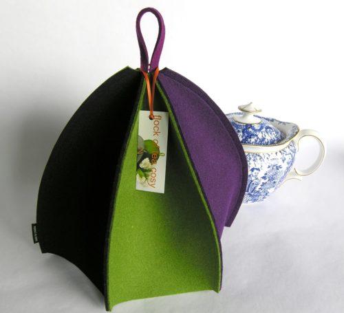 Modern wool felt tea cosy for standard 4cup teapot expandable