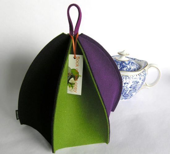 Modern wool felt tea cosy for standard 4cup teapot expandable