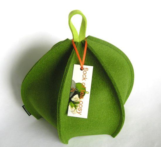 Expandable modern tea cosy in wool felt Moss Green