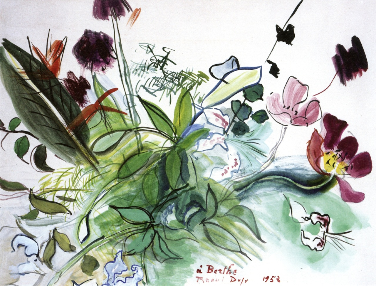 Raoul Dufy watercolour painting of bouquet of flowers