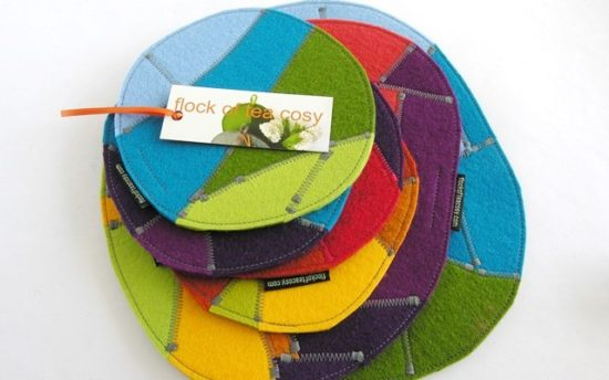 Multicolored ecoconcious trivets and coasters in european wool felt offcuts