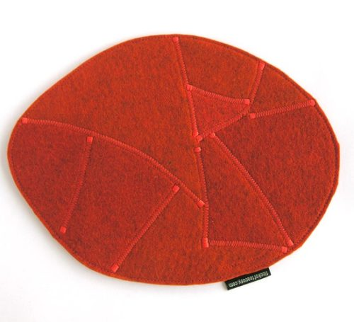 Large trivet in burnt orange thick wool felt made from offcuts eco concious