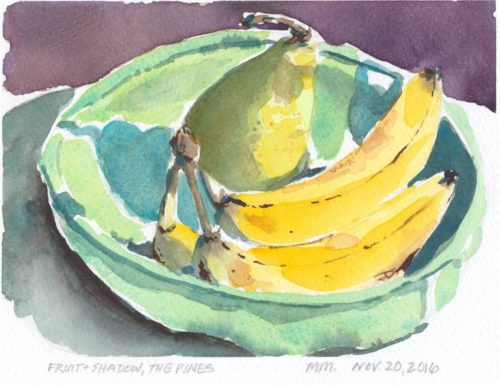 Small original watercolour painting of fruit bowl banana and pear