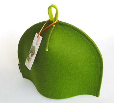 Small modern minimalist tea cozy in moss green wool felt