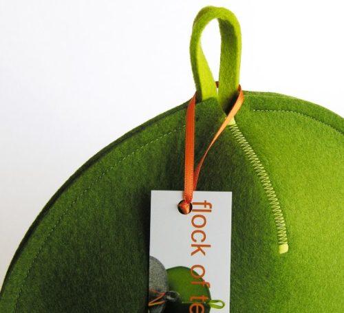 Modern minimalist tea cosy in wool felt moss green