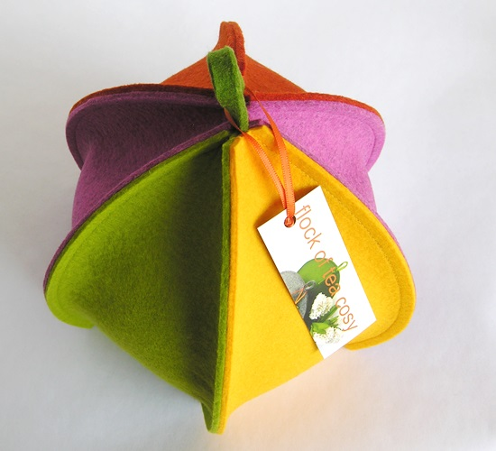 Harlequin tea cosy with six sides