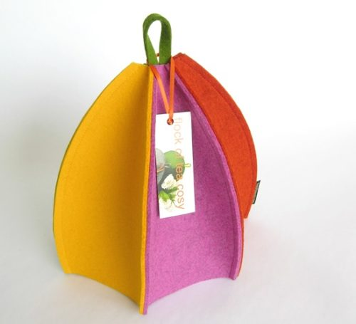 Colourful six sided modern wool felt tea cosy for a 2 or 3 cup teapot.