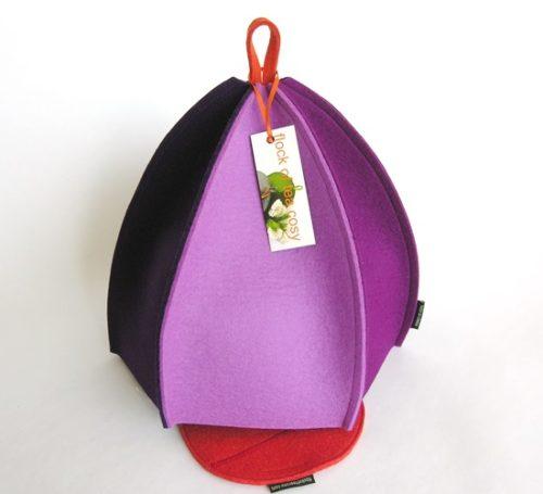 Modern wool felt large tea cosy in purples