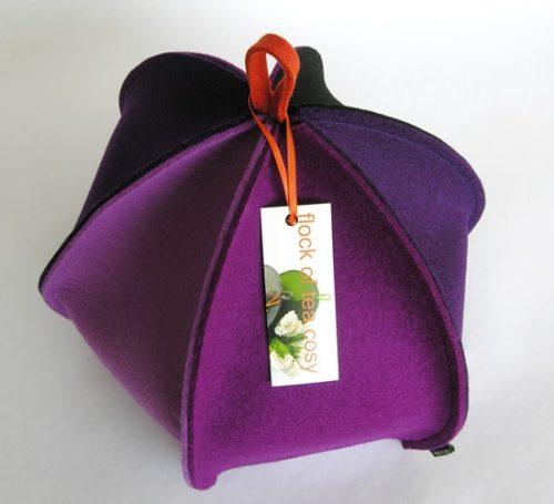 Multi-coloured wool felt modern tea cozy for large teapot