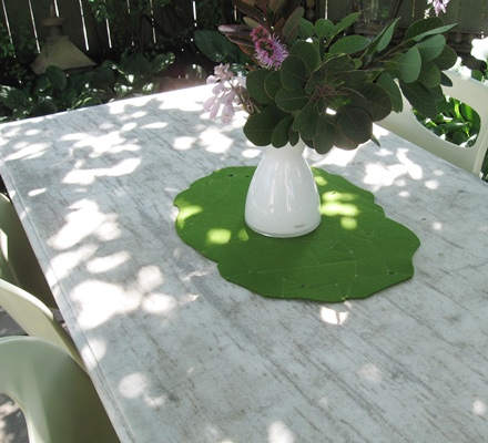 Table Topper in green wool felt