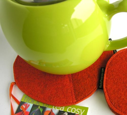 Eco-concious teapot trivet and coaster set in wool felt offcuts