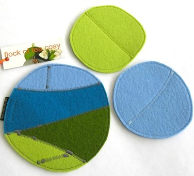 Eco-concious colourful wool felt trivet and coaster set made from offcuts.