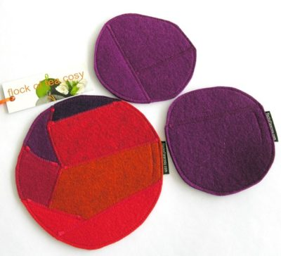 Wool felt trivet and coaster set in upcycled wool felt offcuts
