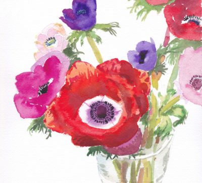 Original watercolour painting of flowering anenomes