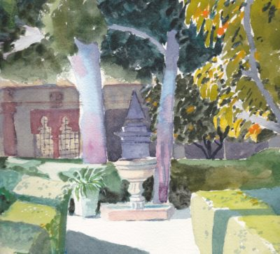 Small original watercolour painting of the Bennlliure Gardens in Valencia Spain