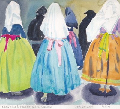 Valencia Spain original watercolor of Fallas festival dresses